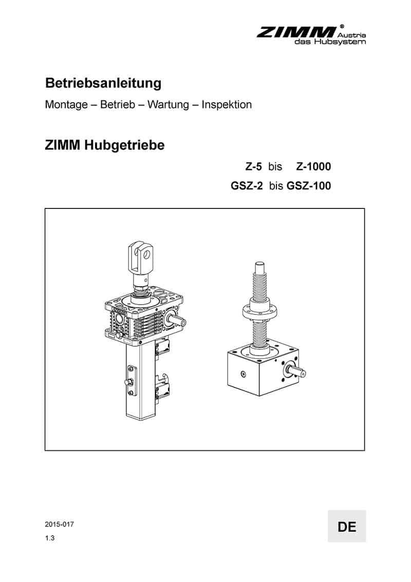 Instrukcja obsługi | Przekładnie śrubowe | Niemiecki