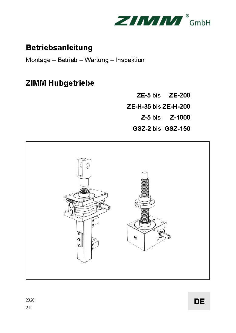 Instrukcja obsługi 2.0 | Przekładnie śrubowe | Niemiecki